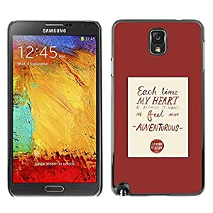 TopCaseStore / la caja del caucho duro de la cubierta de protección de la piel - Heart Love Quote Red Poster Text - Samsung Galaxy Note 3 N9000 N9002 N9005