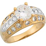 10k Two Tone Real Gold White CZ Dome Style Beautiful Fancy Ladies Ring