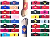Yibaoo 32 Pack Superhero Bracelet for Kids Boys & Girls Superhero Birthday Party Supplies Favors,Superhero Felt Bangle,Wristband Accessories Wrist Strap