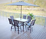 9PC Swivel Patio Bar Dining Set with Cover and Umbrella