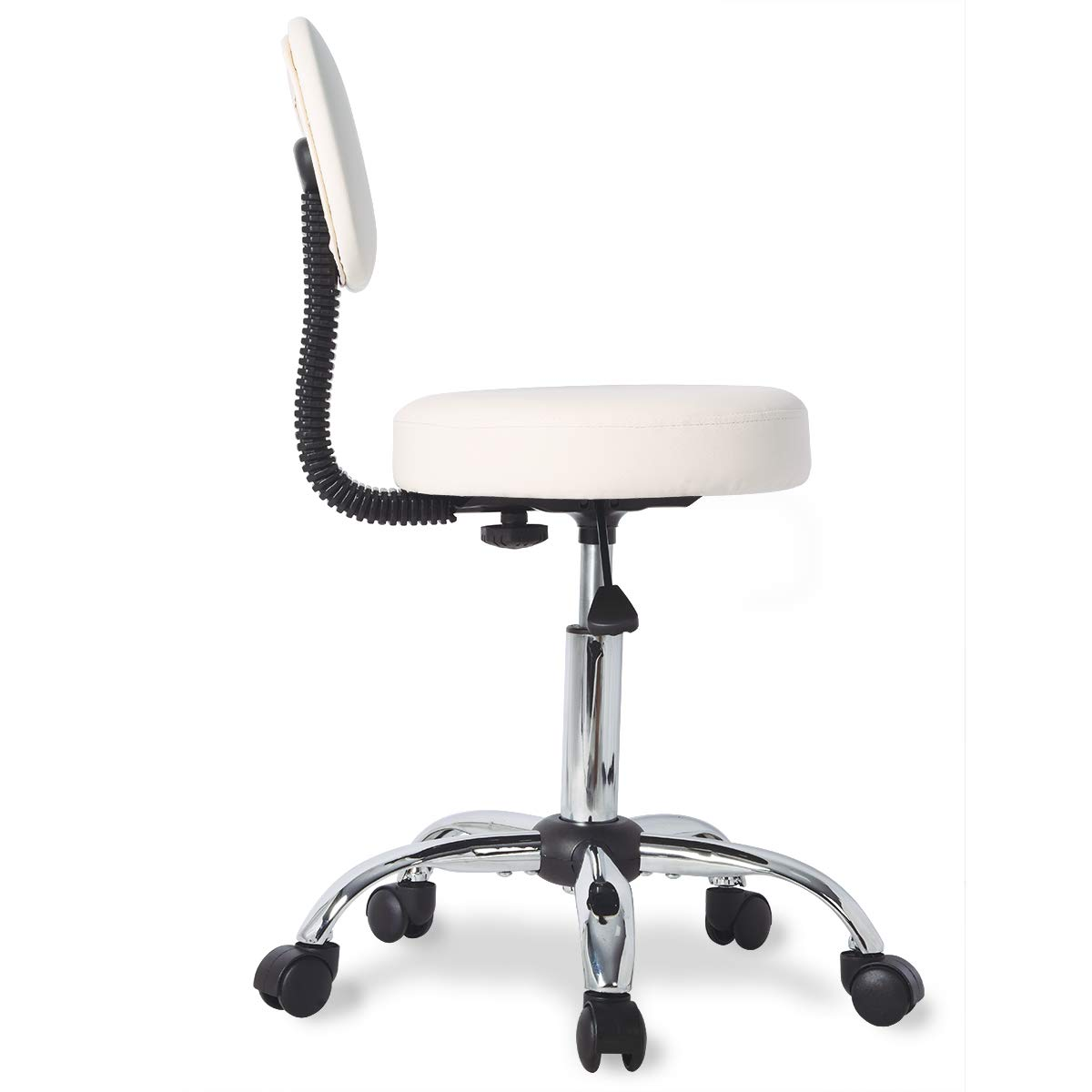 Urest Stool Chair Rolling Adjustable Swivel Office Desk Chair with Back and Wheels for Home,Office,Massage,Spa,Esthetician in Beige ...