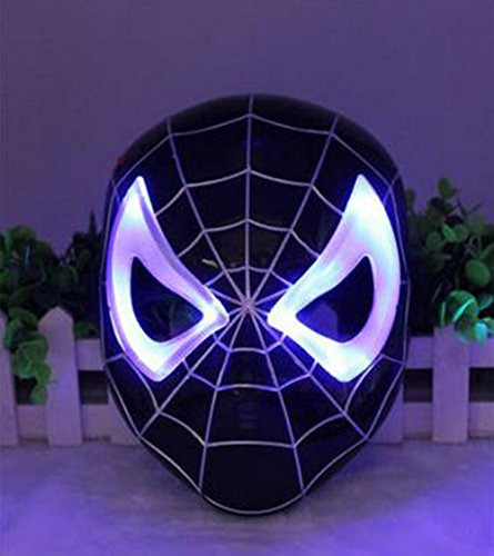 Crazystone's Kids LED Lightning Mask (Black spiderman) (Mens Black Spiderman Costume)