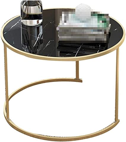 Yuzhonghua Living Room Furniture Wrought Iron Coffee Table Marble Texture Durable Coffee Table Bar Restaurant Decorated Tables Living Room Movable Negotiation Table Amazon De Kuche Haushalt