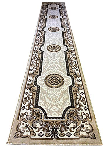 - Traditional Long Runner Rug Persian Ivory Kingdom Design #D123 (2ft4in.X10ft11in.)