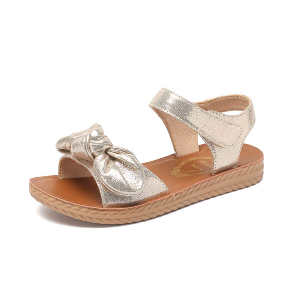 Mobnau Cute Bowknot Summer Leather Falt Girls Sandals for Kids