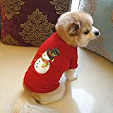 Glumes Dog Clothes, Pet Clothing, Christmas Snow Man Pattern Costume Dogs Round Neck Two-Legged T-shirt, Puppy Fashion Cute Soft Thickening Warm Coat PERFECT GIFT (M, Red)