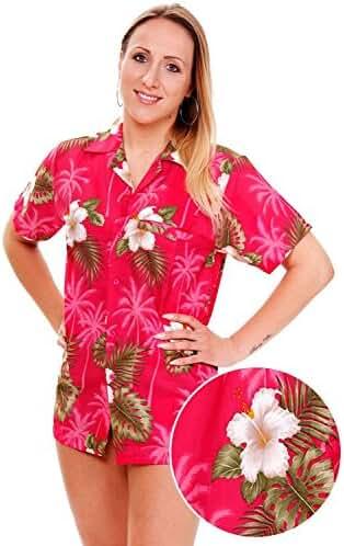 Funky Hawaiian Blouse Women Short-Sleeve Front-Pocket Small Flower Multiple Colors