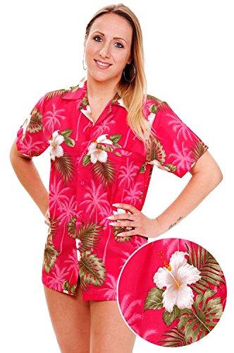 Funky Hawaiian Blouse, Smallflower, pink, (Womens Hawaiian Shirts)