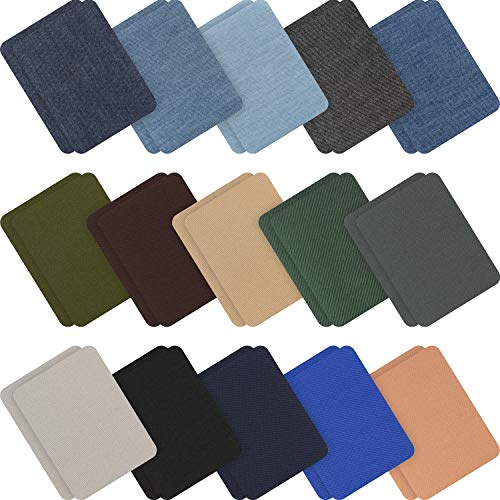 30 Pieces Iron on Fabric Patches Denim Jean Repair Patches Clothing Repair Patch Kit for Jacket Jean Clothes (Color Set 1)