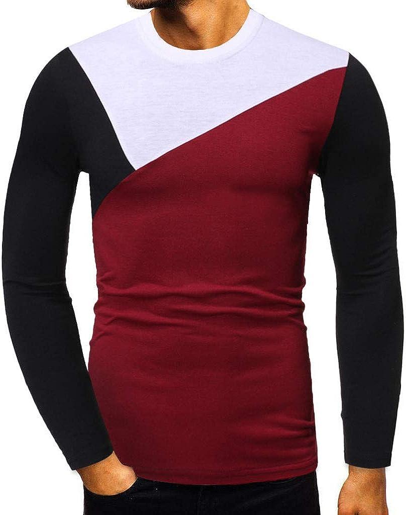 Bsjmlxg Men's Long-Sleeved Slim Fit Patchwork Shirt O Neck Basic Colorblock Autumn Sweater Sweatshirt Blouse