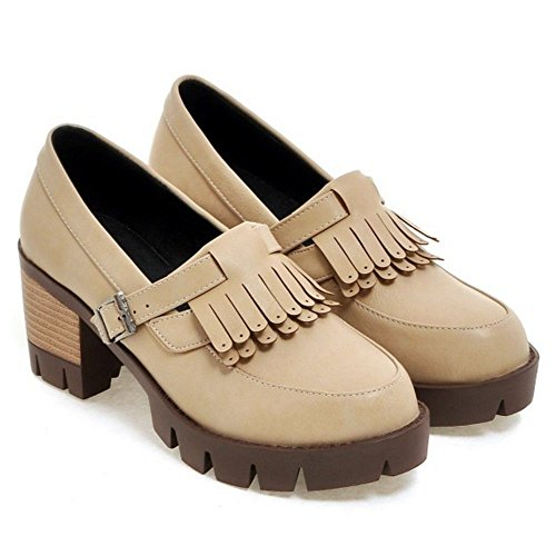 On Chunky KemeKiss School Styling apricot Shoes Women Comfort Slip Heel Pumps EOOxwYRrq
