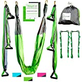 Aerial Yoga Swing - Gym Strength Antigravity Yoga Hammock - Inversion Trapeze Sling Equipment with Two Extender Hanging Straps - Blue Pink Grey Swings & Beginner Instructions (Green and Platinum)