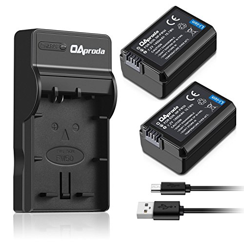 OAproda 2 Pack NP-FW50 Battery and Rapid Micro USB Charger for Sony Alpha a7, a7 II, a7R, a7R II, a7S, a7S II, a5000, a5100, a6000, a6300, a6500, NEX-3, NEX-3N, NEX-5, NEX-5N, NEX-5R NEX-5T, RX10
