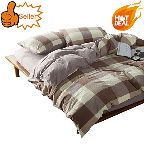OTOB Boys Girls Cotton Coffee White Grey Gingham Plaid Geometric Queen Full Size Bedding Sets for Kids Adults Teen Bedding Duvet Cover Sets with 2 Pillowcases Zipper Closure Checkered Grid Collection