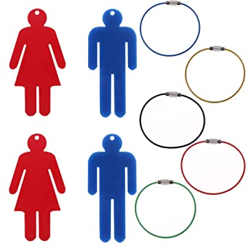 OBANGONG 4 Pcs Mens & Womens Acrylic Restroom Keychain Tags with 5 Pcs Wire Rings for Office Bathroom Designating Keys