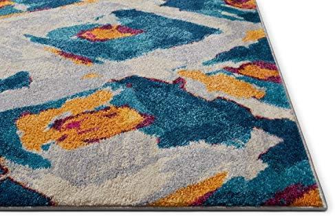 Well Woven Watercolor Ikat Blue Boho Area Rug 5×7 5 3 x 7 3 Soft Plush Modern Vintage Tribal Lattice Carpet