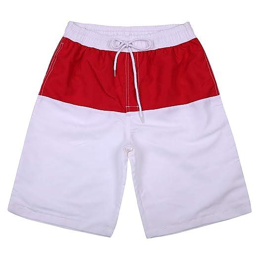 b9b8c841f3317 Allywit Men's Shorts White and Red Swim Trunks Quick Dry Beach Surfing  Running Swimming Water Shorts | Amazon.com