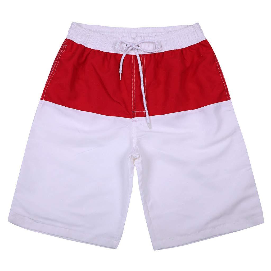 GREFER Men's Beachwear Board Shorts Quick Dry Swim Trunks Plus Size White