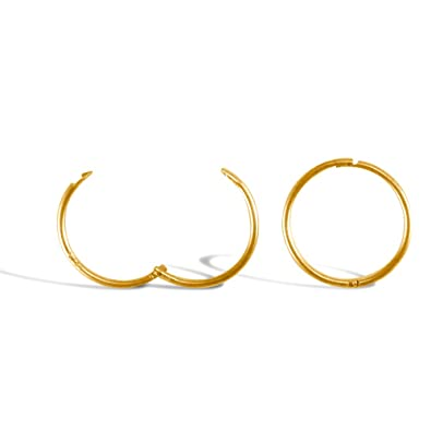 Jewelco London Solid 9ct Yellow Gold Hinged Sleeper 1mm Hoop Earrings 13mm FSNdBYMn