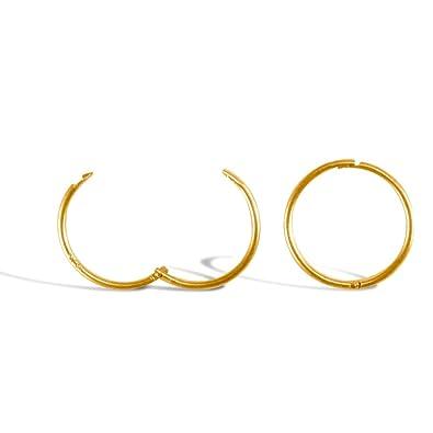 Jewelco London Solid 9ct White Gold Hinged Sleeper 1mm Hoop Earrings 16mm aXuhnJdY