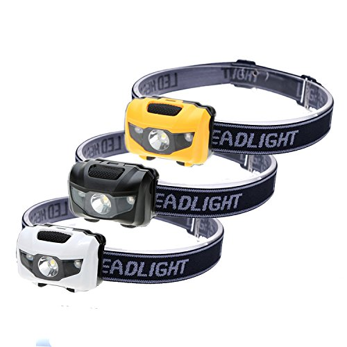 3-Pack Waterproof LED Headlamp (White and Red Lights), 4 Light Modes Lightweight Headlight for Running, Hiking, Hunting, Fishing, Camping (3 Pack)