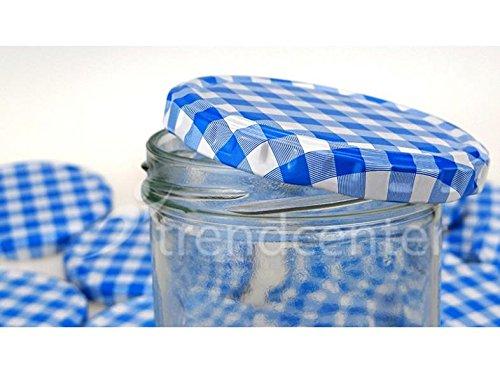 TREND 45X Barattoli in Vetro 230ML con tappo a vite two82Blu/Bianco Di vasetti in vetro barattolo di marmellata di salsiccia