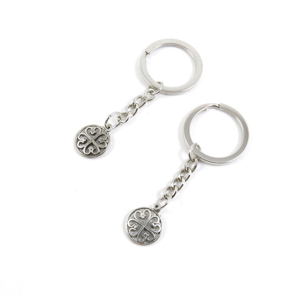 100 Pieces Keychain Door Car Key Chain Tags Keyring Ring Chain Keychain Supplies Antique Silver Tone Wholesale Bulk Lots X4NK4 Hollow Pattern
