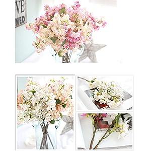 SHZONS Artificial Peach Flowers Bouquet For Home Wedding Decoration, Silk Fake Sakura Peach Blossom Centerpiece arrangements 2PCS 5