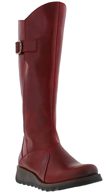 e015f2998fe3b FLY London MOL 2 Red Leather Womens Knee Hi Boots