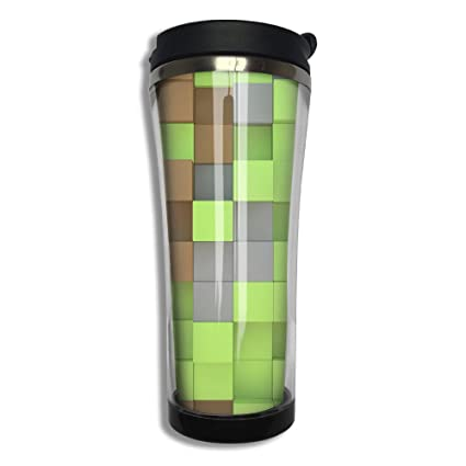 EQQ Minecraft Cubes 3D Flip Top Lid Double Wall Stainless Steel Mug Hot Cold Tumbler With Liquid Tight Travel Coffee Mug Vacuum Sealed Tumbler Drink Bottle