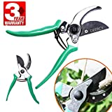 Pruning Shears Bypass Garden Pruner by Deercy, Sharp Tree Trimmers Secateurs Hand Pruner Clippers with Safety Lock. (green)