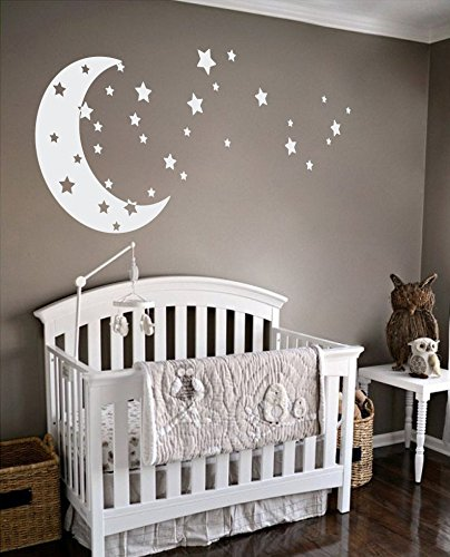 Moon and Stars Night Sky Vinyl Wall Art Decal Sticker Design for Nursery Room DIY Mural Decoration (White, 30×65 inches)