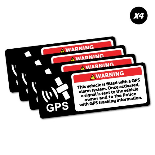(4x Warning GPS Alarm System Sticker Decal Safety Sign Car Vinyl)