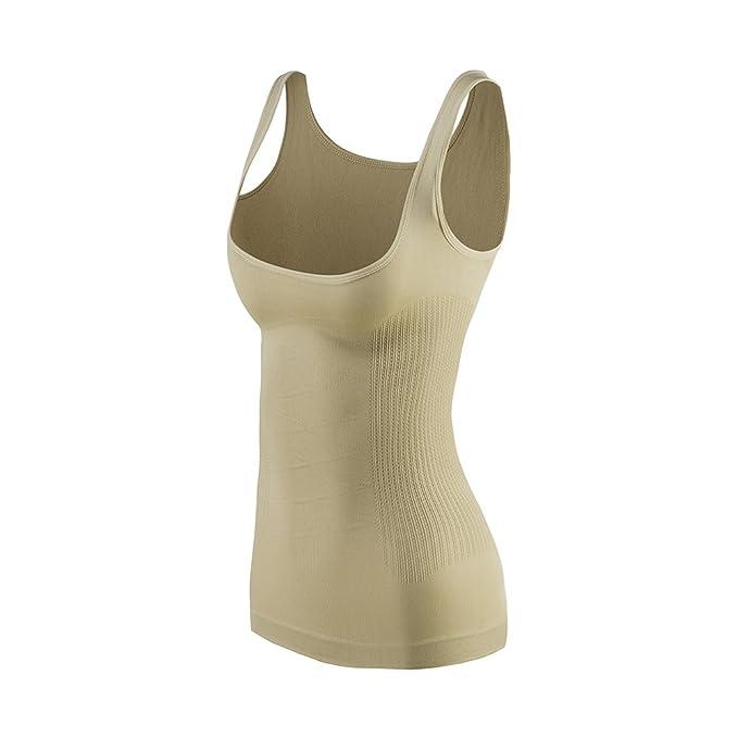 8827602a7d9f KSKshape Women's Seamless Open Bust Tank Top Body Shaper Tummy Slimmer  Shapewear Beige