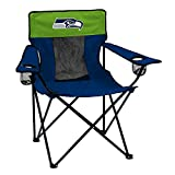 Logo Brands NFL Seattle Seahawks Folding Elite Chair with Mesh Back and Carry Bag, Navy, One Size