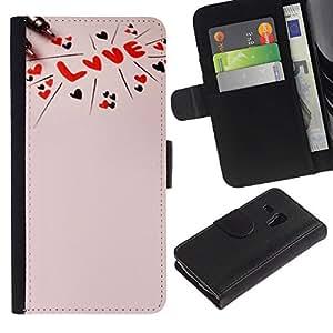 KingStore / Leather Etui en cuir / Samsung Galaxy S3 MINI 8190 / Amor texto rosado melocotón rojo Corazones de San Valentín