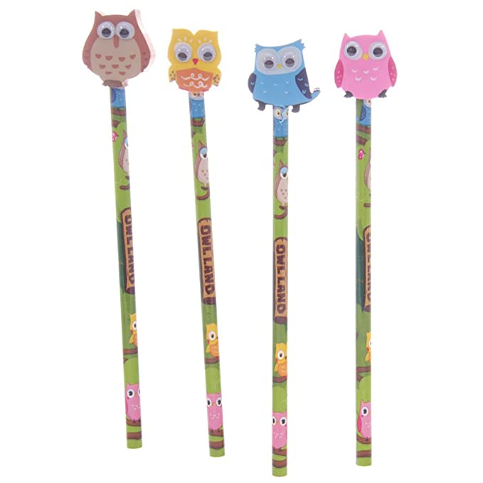 478cbb86e95b8 SET OF 4 CUTE OWL PENCILS WITH OWL ERASERS IDEAL PARTY GIFT