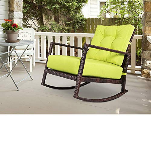 BonusAll Outdoor Furniture Patio Rocking Chair All-Weather Wicker Seat Cushion Rocking Armchair Chair with Cushion,Lime Green