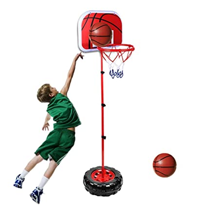 Kids Basketball Stand Adjustable Portable Mini Basketball Hoop Set Indoor Outdoor Sport Game with 2 Basketball