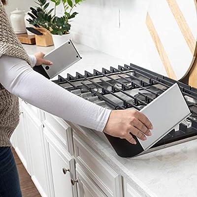 QDOS Protector adhesivo de aluminio para estufa – complementa diseños modernos de cocina – se adapta a cocinas y la mayoría de estufas independientes – protege de la parte delantera y lateral –