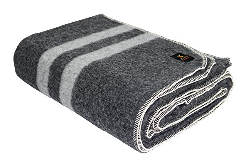 Thick Alpaca Wool Blanket (Queen, Gray - Soft Gray Stripes) Grey Wool Blanket