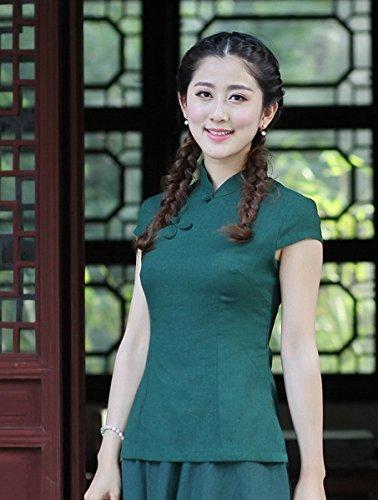 Colore Corte scuro Verde con Stile Camicetta YueLian Pure Maniche Cinese a qwp0nxXS