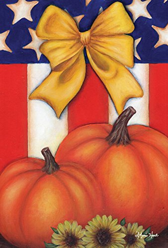 Toland Home Garden Patriotic Fall 12.5 x 18 Inch Decorative Yellow Ribbon Pumpkin Garden Flag