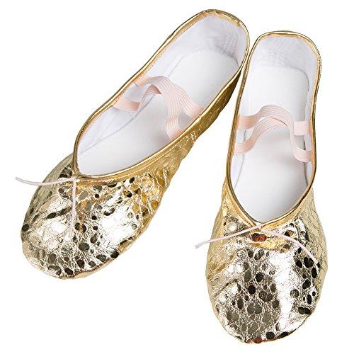 WELOVE Ballett Slipper Schuhe Pointe Canvas Split Sohle Praxis Ballett Tanzen Gymnastik Schuhe Ballett Flache Slipper Yoga Schuhe Gold
