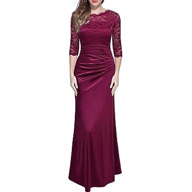 Damen Elegante Hochzeit Abendkleid Spitzenkleid Brautjungfer Vintage ...