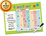 "Dry Erase Reward Chore Chart - 16"" x 13"" - Children Behavior Incentive Star Charts - Kids Responsibility To Do List - Reusable Child Toddler Home & Classroom Teaching Resource (Lime)"