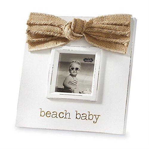 Mud Pie Beach Baby Wood Photo Frame Burlap Bow 3