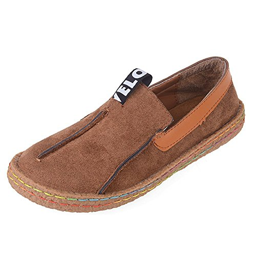 Huanyoo+Women+Casual+Suede+Penny+Loafer+Slip-on+Walking+Shoes+Brown+US+8