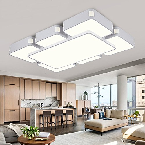 CLG-FLY Led Ceiling Lamp Living Room Lamp Rectangular Lamp Modern Minimalist Bedroom Cozy Balcony Lights Restaurant Lighting,Dumb White 7 970630,Guang Bai,with best (Clg Matte)