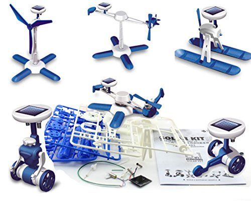 Yannothing new 6-in-1 DIY Science Educational Solar Energy Robot Toys Kit Plane Windmill Airboat Car Helicopter Educational Developmental Toys Baby Kids Training Toy
